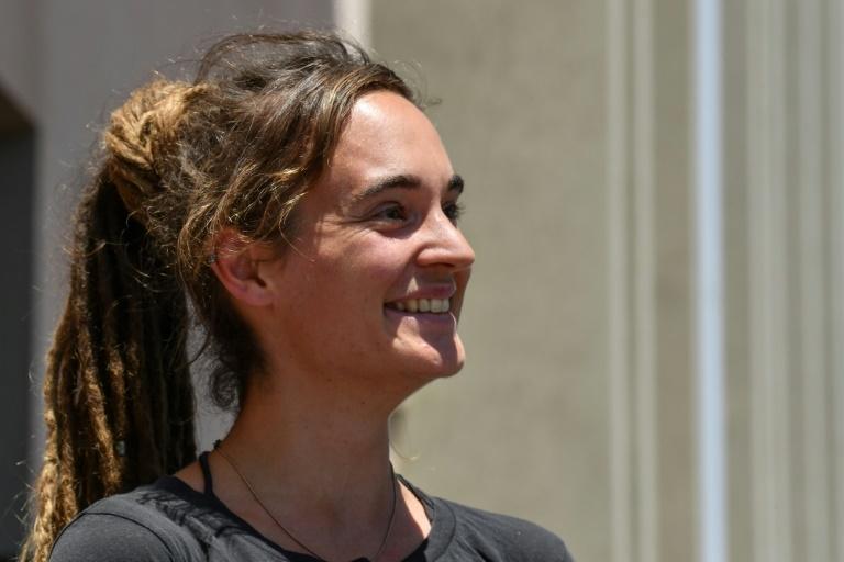 A alemã Carola Rackete, capitã do Sea Watch 3, durante coletiva na cidade siciliana de Agrigento, Itália, 19 de julho de 2019.