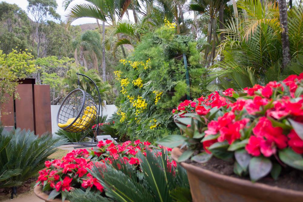 Jardim de Vasos de Vera Valenzuela traz a alegria das flores em vasos de ferro fundido.
