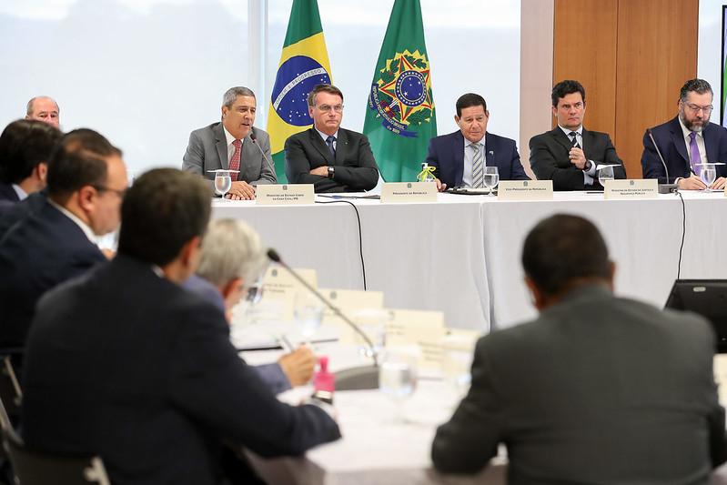 Reunião do presidente Bolsonaro, ministros e presidentes de instituições que acontece no dia 22 de abril de 2020