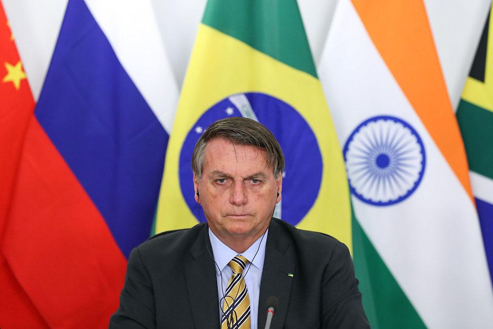 Presidente da República Jair Bolsonaro, durante reunião da 12ª Cúpula de Líderes do BRICS, por videoconferência
