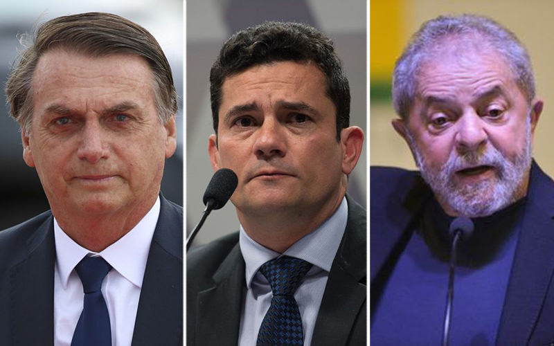 Alguns dos candidatos: Bolsonaro, Sérgio Moro e Lula