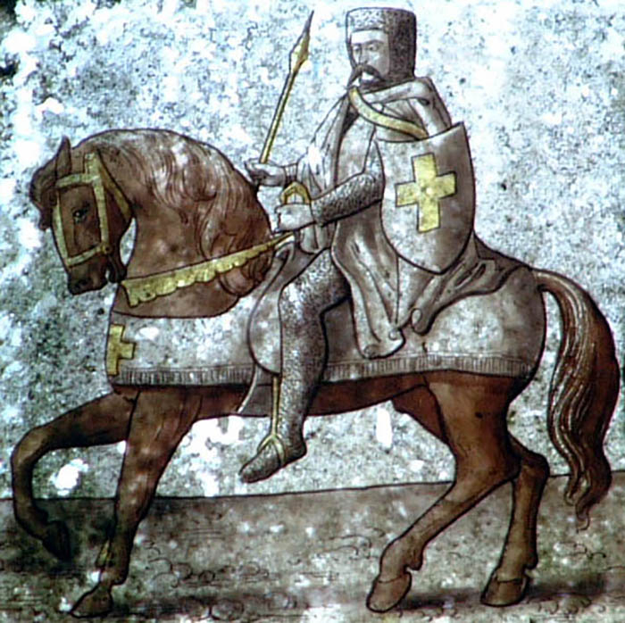 Quem primeiro cumpriu o papel dos bancos na Idade Média foram os Cavaleiros Templários. Na foto, afresco em um local dos Templários na Cornualha, Inglaterra