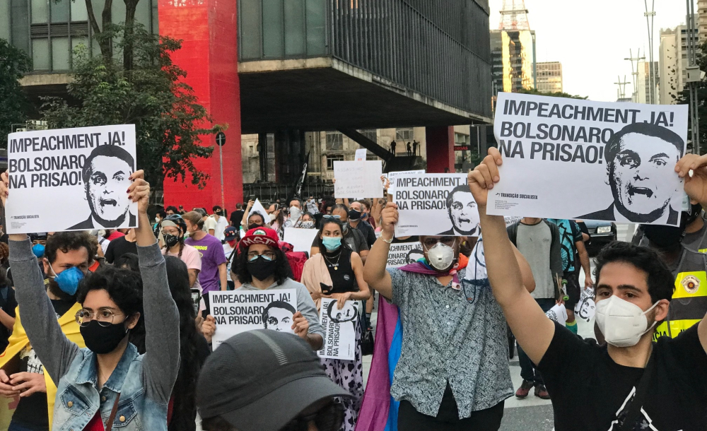 Manifestação 'Fora Bolsonaro', na Avenida Paulista, São Paulo, em 26 de junho de 2021