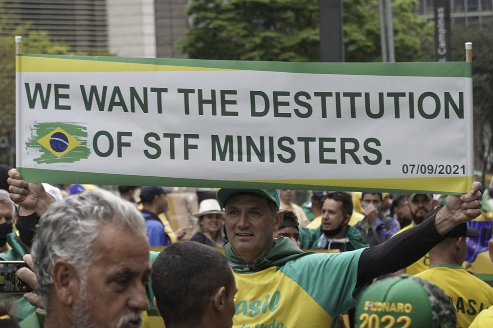 Apoiadores do presidente Jair Bolsonaro participam de ato do dia 7 de setembro, em São Paulo