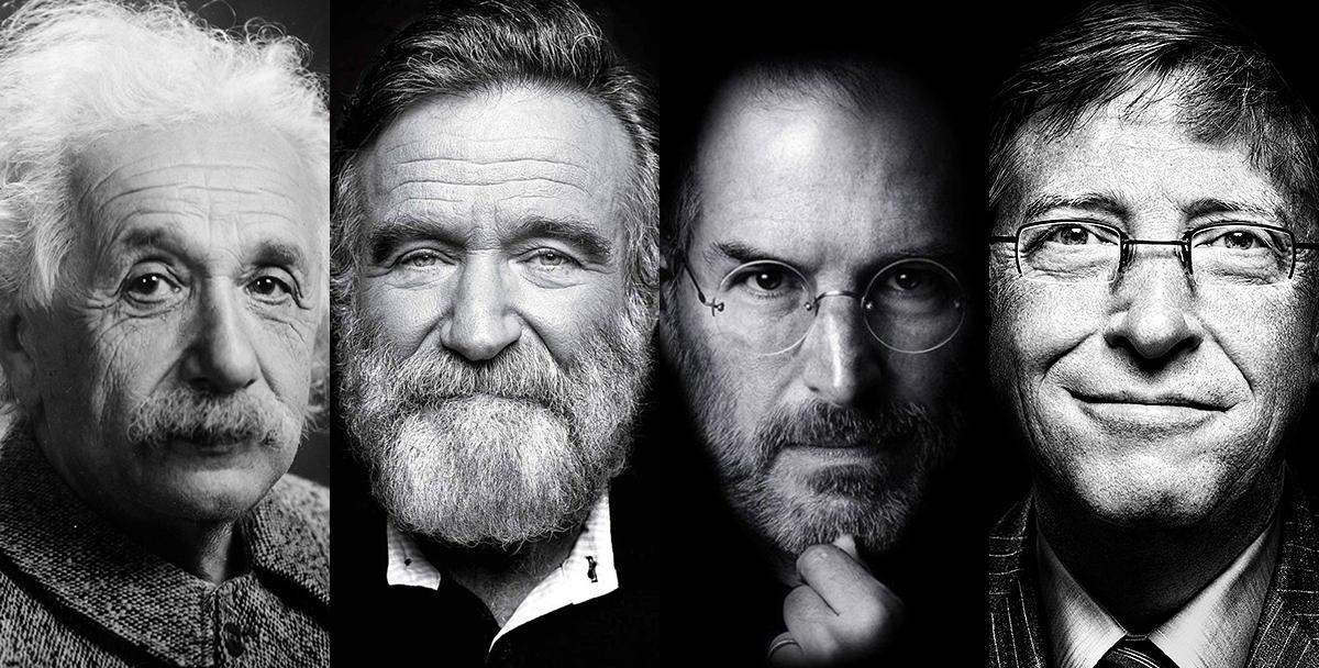 Albert Einstein, Robin Williams, Steve Jobs e Bill Gates: portadores da Síndrome de Asperger.