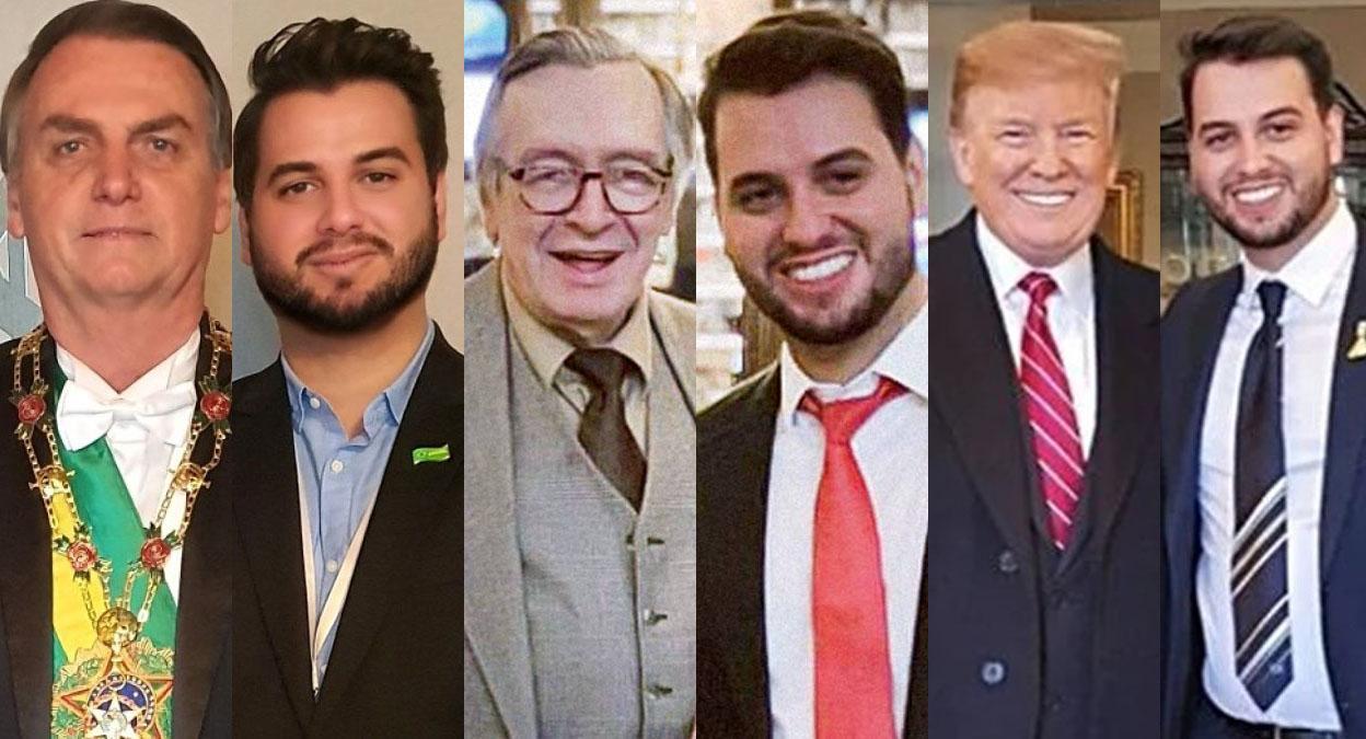 Felipe Martins posa ao lado de integrantes da 'realidade paralela': Jair Bolsonaro, Olavo de Carvalho e Donald Trump