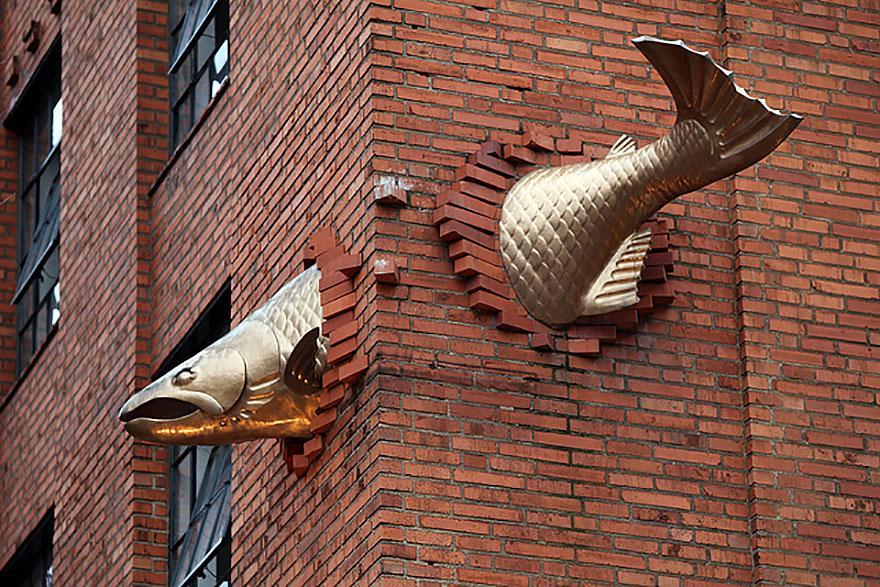 Escultura Salmão, Portland, Oregon, EUA