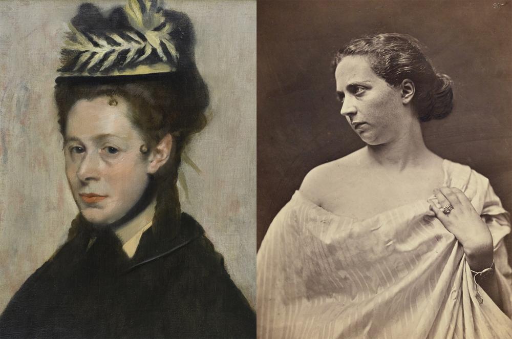 Edgar Degas inspirou-se em foto de Felix Nadar, de 1870, para pintar 'Mulher com chapéu de plumas'.