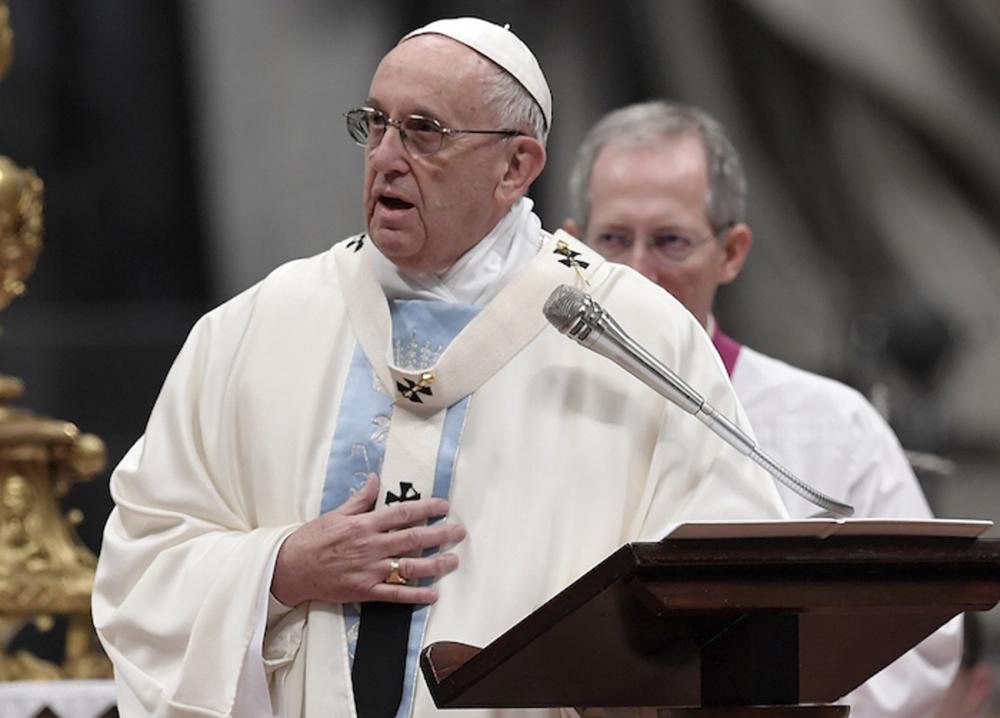 Papa Francisco em 1º de janeiro na Basílica de São Pedro, no Vaticano