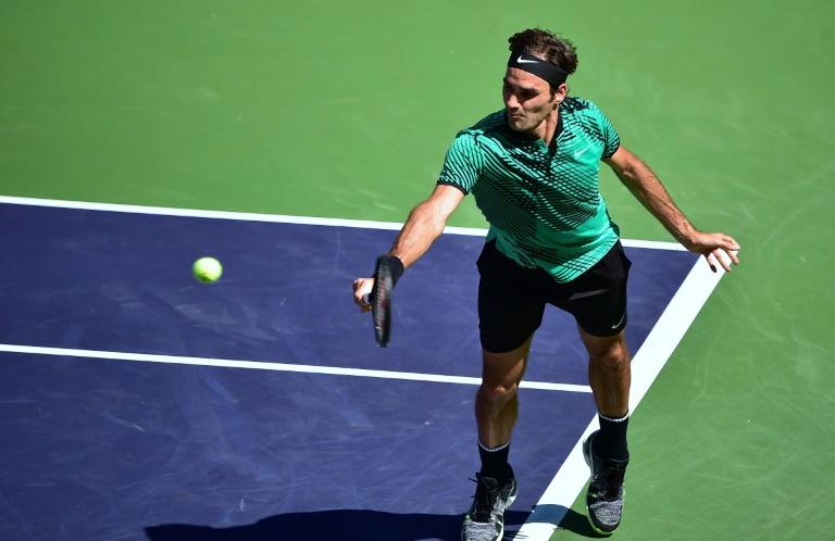 O suíço Roger Federer na partida contra o americano Jack Sock, pelas semifinais do Masters 1000.