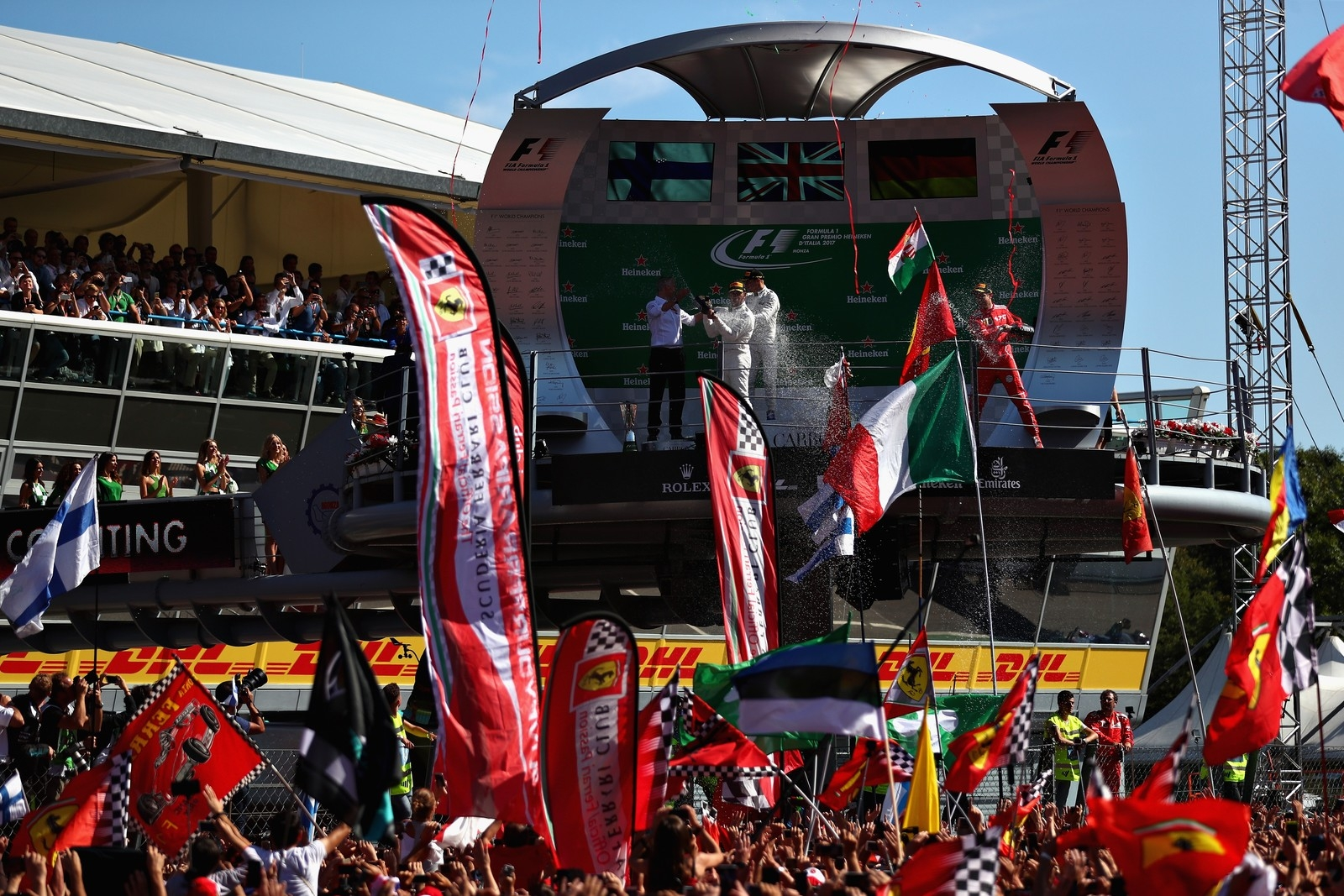 Hamilton P1, Bottas P2 e Vettel P3: a festa do pódio em Monza