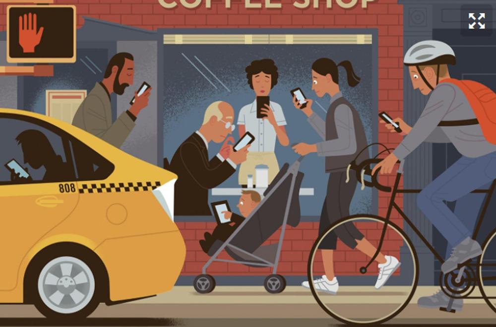 Além dos problemas musculares, o uso excessivo de celulares e smartphones traz mais riscos de acidentes.