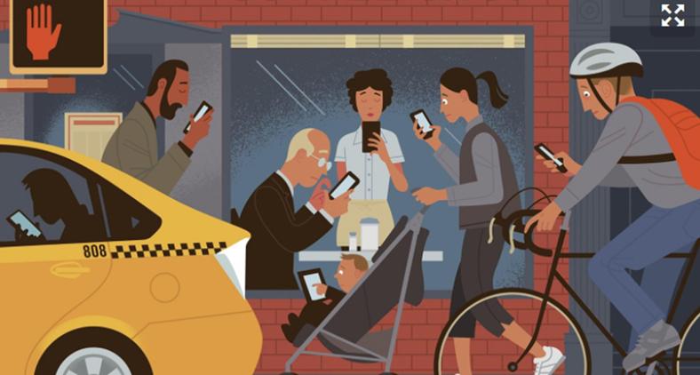 Além dos problemas musculares, o uso excessivo de celulares e smartphones traz mais riscos de acidentes. (Reprodução)