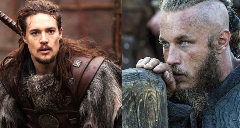 O saxão Uthred e o viking Ragnar Lothbrok, personagens dos novos seriados da Netflix.