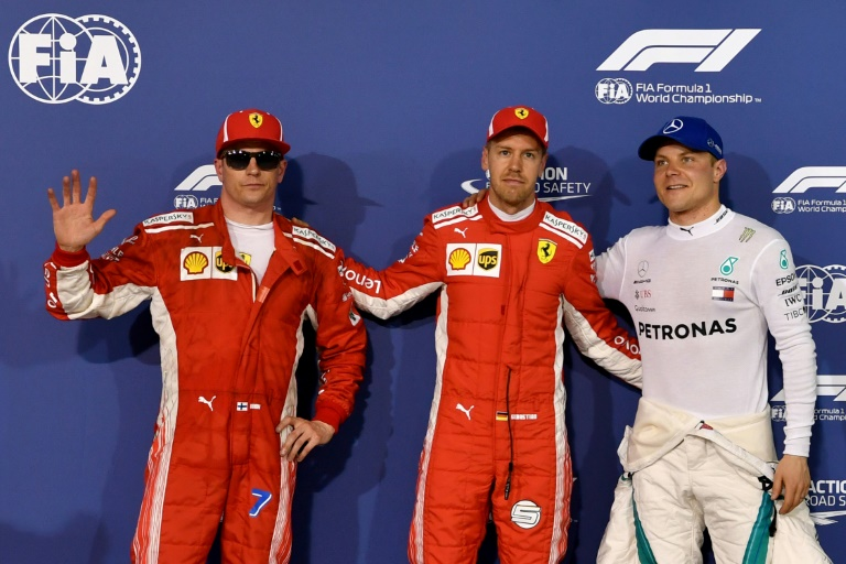 Sebastian Vettel garante pole do GP do Bahrein, à frente de Kimi Raikkonen e Valtteri Bottas, 7 de abril 2018