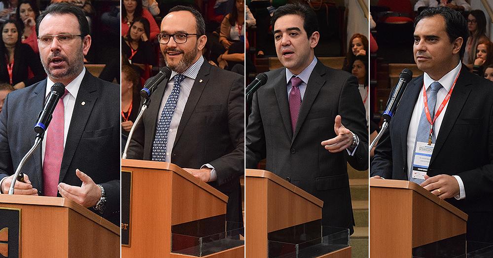 Procuradores Douglas Fischer (E) e Vladimir Aras (MPF), ministro Bruno Dantas (TCU) e o jurista Gustavo Magalhães.