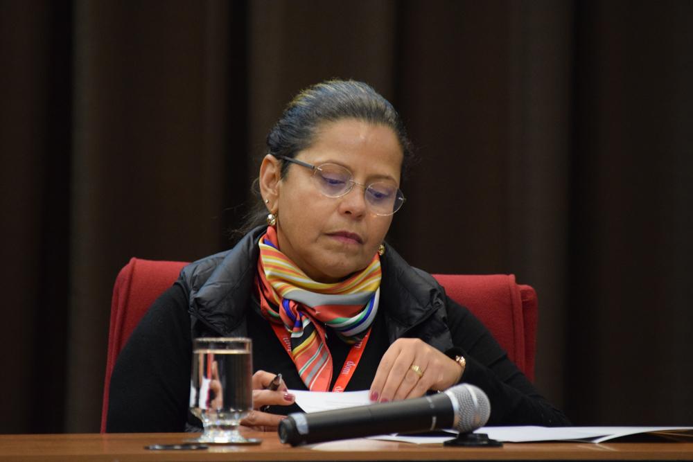 Professora Adriana Goulart Orsini, coordenadora do RECAJ e Desembargadora Federal do Trabalho do TRT 3ª Região, compôs a mesa de trabalhos no segundo dia do congresso.