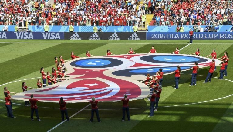 Logo da Copa do Mundo da Rússia antes de partida em Moscou, em 23 de junho de 2018