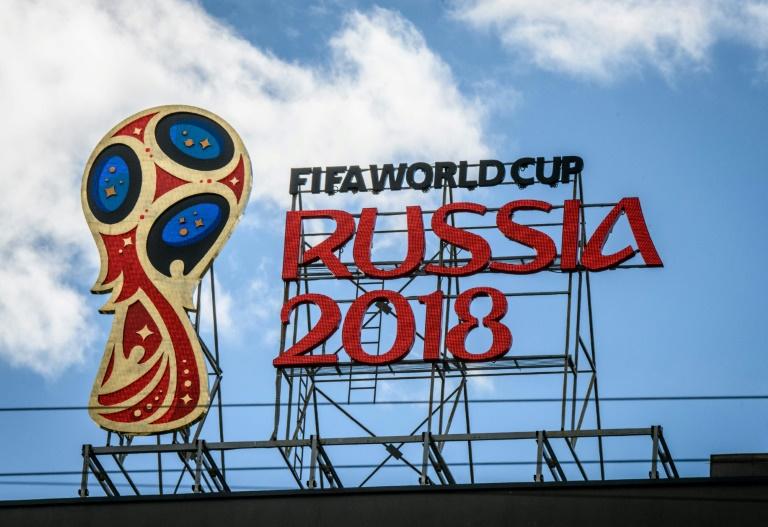 Logo da Copa do Mundo da Rússia em Moscou, em 6 de junho de 2018