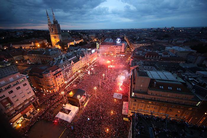 A festa dos croatas em Zagreb.