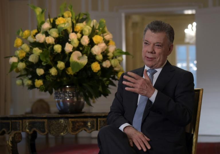 Ex-presidente colombiano Juan Manuel Santos durante uma entrevista para a AFP em Bogotá no dia 30 de julho de 2018.