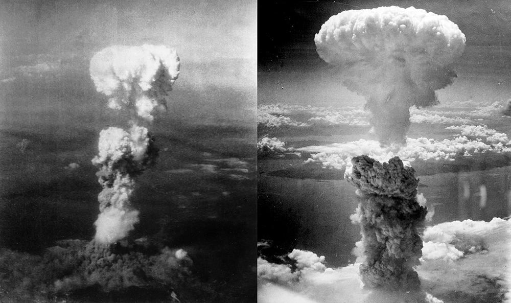 A nuvem de cogumelo sobre Hiroshima (esquerda) após a queda da Little Boy e sobre Nagasaki, após o lançamento de Fat Man, em 6 e 9 de agosto de 1945 respectivamente.