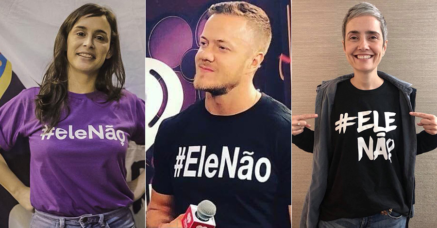 Campanha contra Bolsonaro: chef Bel Coelho Dan Reynolds, vocalista do Imagine Dragons, e Debora Diniz, antropóloga.