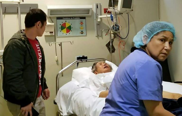 Fujimori em quarto de clínica onde está internado. O ministro do Interior, Mauro Medin, informou que ele já está sob custódia policial na Clínica Centenário Peruano-Japonesa.