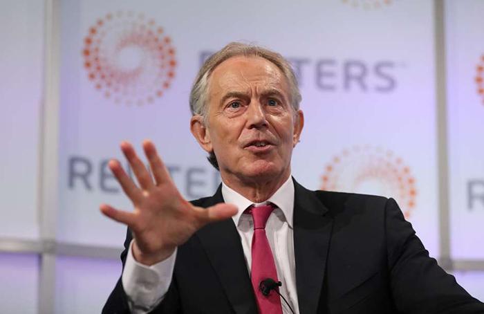 Ex-premiê britânico Tony Blair durante evento na Thomson Reuters, em Londres.