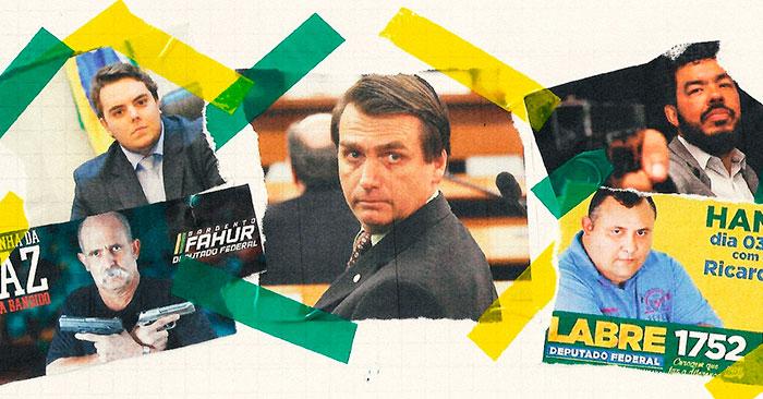 Felipe Francischini (PSL-PR), eleito deputado federal. Abaixo dele, Sargento Fahur (PSD-PR). No centro, Jair Bolsonaro. No alto, à direita, o deputado federal, Tio Trutis (PSL-MS)e, logo abaixo, o deputado federal, Márcio Labre (PSL-RJ).
