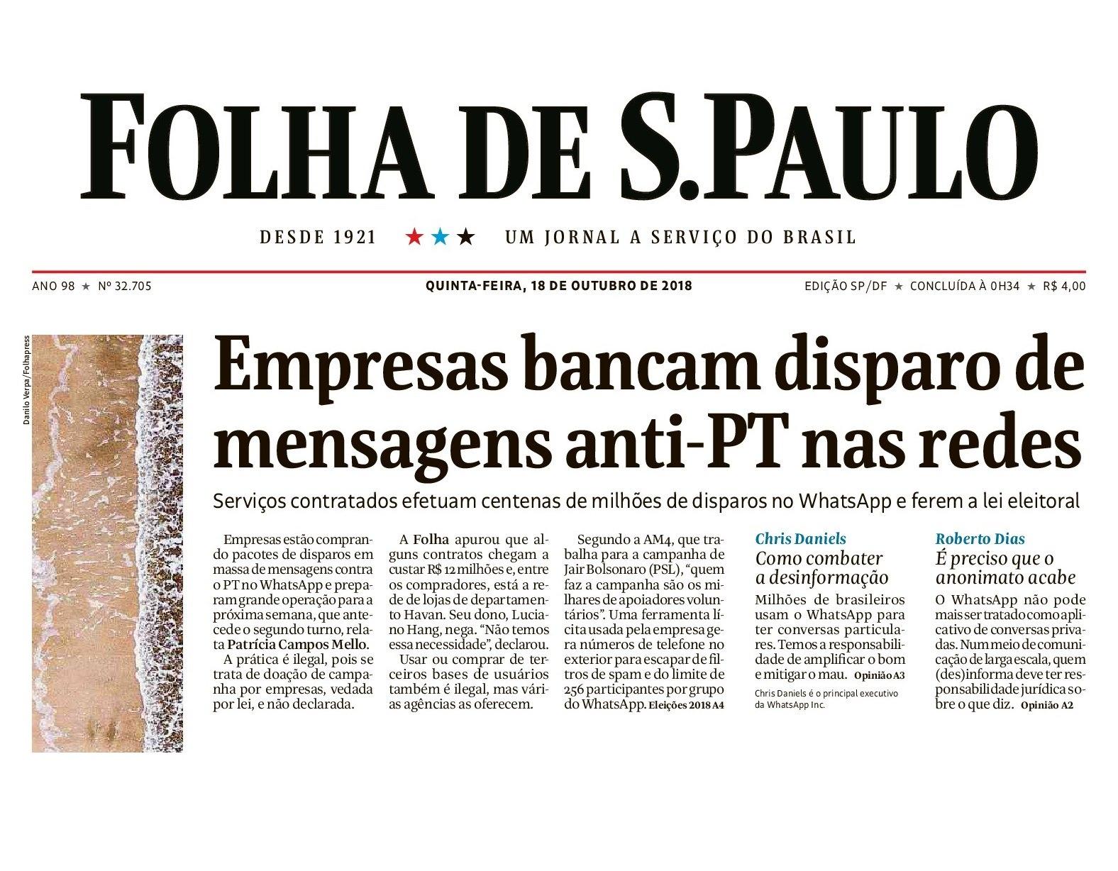 Segundo a Folha, a jornalista teve sua conta no WhatsApp invadida