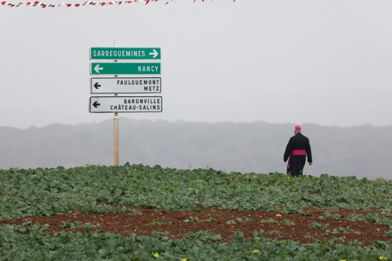 Bispo caminha ao longo de um campo perto de uma placa de sinalização em Morhange, no leste da França, após as celebrações do centenário da Primeira Guerra Mundial.