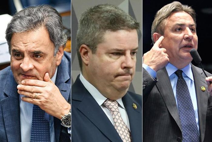 Representantes de Minas Gerais no Senado, Aécio Neves (PSDB-MG), Antonio Anastasia (PSDB-MG) e Zezé Perrela (MDB-MG).