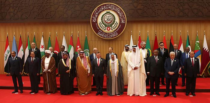 Chefes de estado dos países da Liga Árabe, durante encontro na Jordânia em 2017.
