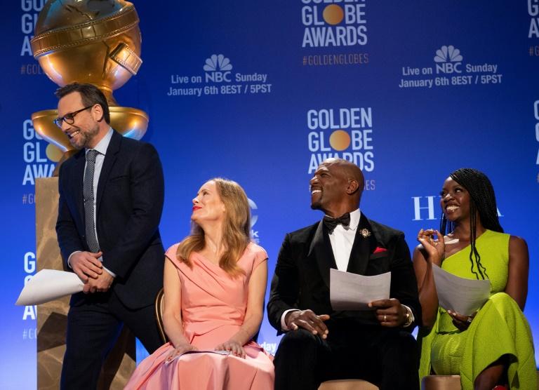Atores Christian Slater, Leslie Mann, Terry Crews e Danai Gurira durante anúncio das indicações do Globo de Ouro.