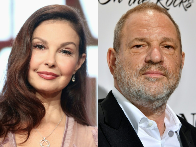 A atriz Ashley Judd e o ex-produtor de Hollywood e magnata Harvey Weinstein.