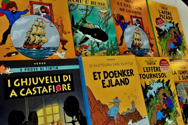 (Arquivo) Foto tirada em 24 de janeiro de 2014 mostra capas de quadrinhos de Tintim traduzidas para vários idiomas, em Bruxelas