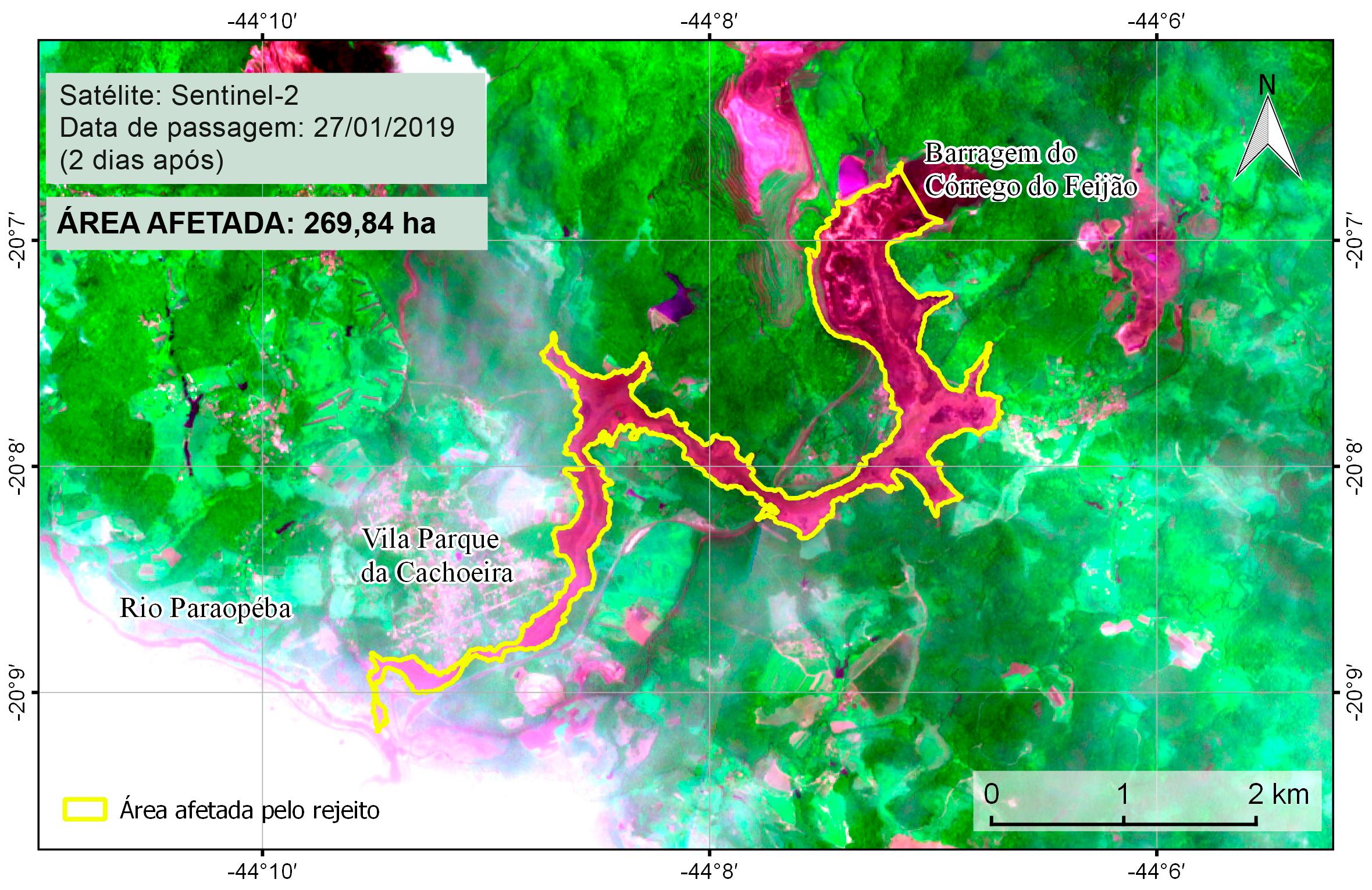 Rompimento de barragem da Vale em Brumadinho (MG) destruiu 269,84 hectares