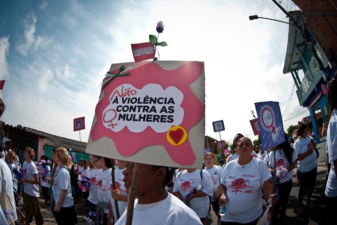 Protesto em São Paulo contra agressões sofridas por mulheres.