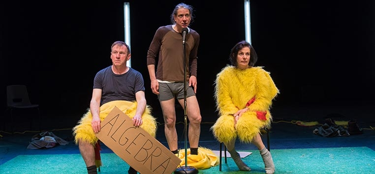 O espetáculo é uma combinação de show-cabaré com game show, protagonizado por três atores que simulam jogos.