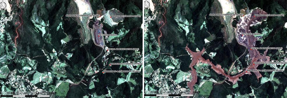 Na imagem feita quatro dias após a tragédia é possível verificar toda a área diretamente afetada na cidade