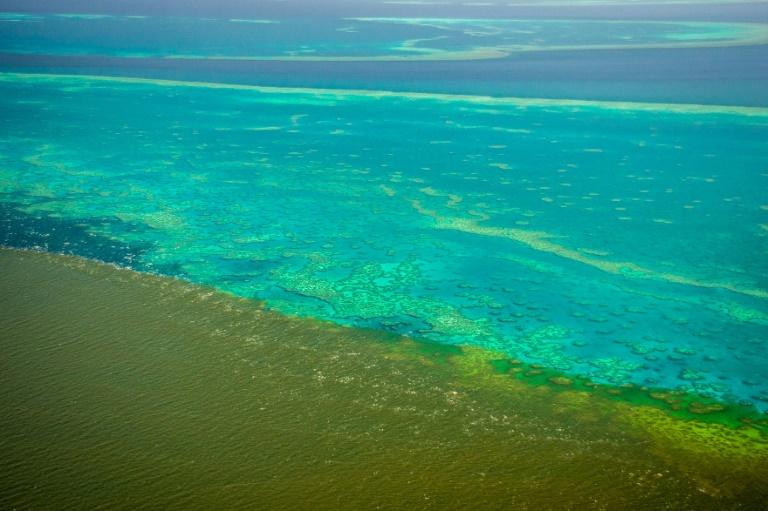 Imagem de 13 de fevereiro de 2019 mostra sedimentos das recentes inundações perto da Grande Barrera de Coral.