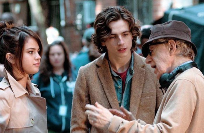 Selena Gomez e Woody Allen no set de 'A rainy day in New York'.