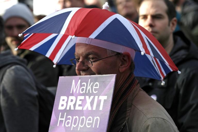 (Dez/2018) Manifestante defende o Brexit durante manifestação organizada pelo Ukip no centro de Londres