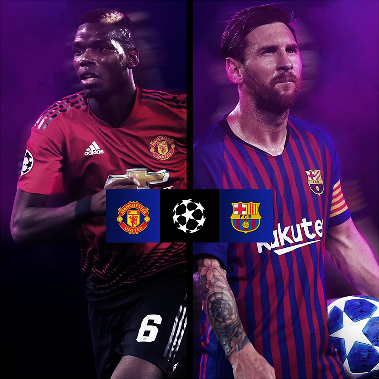 United x Barcelona é o principal jogo das quartas de final da Champions.