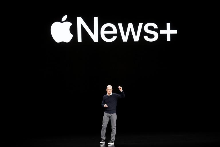 O CEO da Apple, Tim Cook, apresenta o serviço Apple News+ em Cupertino, Califórnia, em 25 de março de 2019