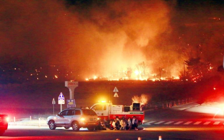 Incêndio gigantesco atinge área de montanha na Coreia do Sul, perto da fronteira com a Coreia do Norte