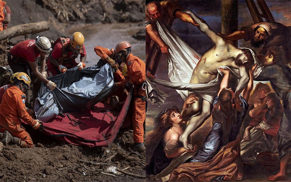 Resgate de um corpo em Brumadinho (E) e 'A deposição da cruz' de Peter Paul Rúben (D). O Brasil atravessa a Via Crucis.