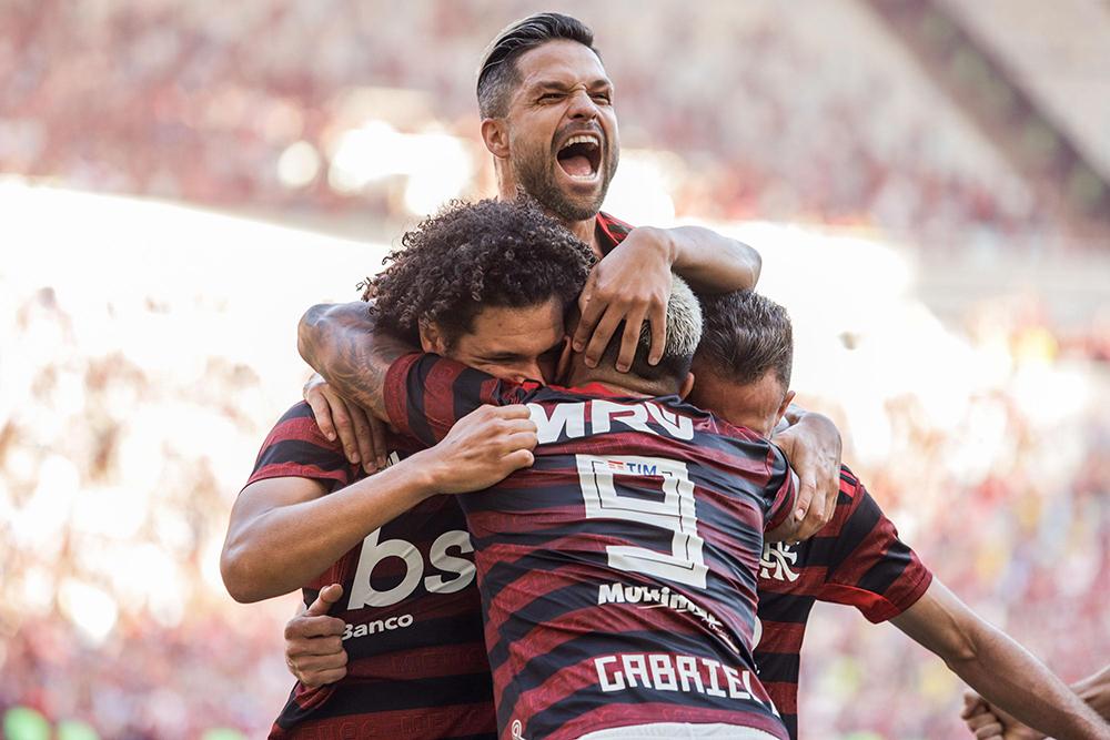 Willian Arão, jogador do Flamengo, comemora seu gol durante a segunda partida contra o Vasco, válida pela final do Campeonato Carioca 2019.
