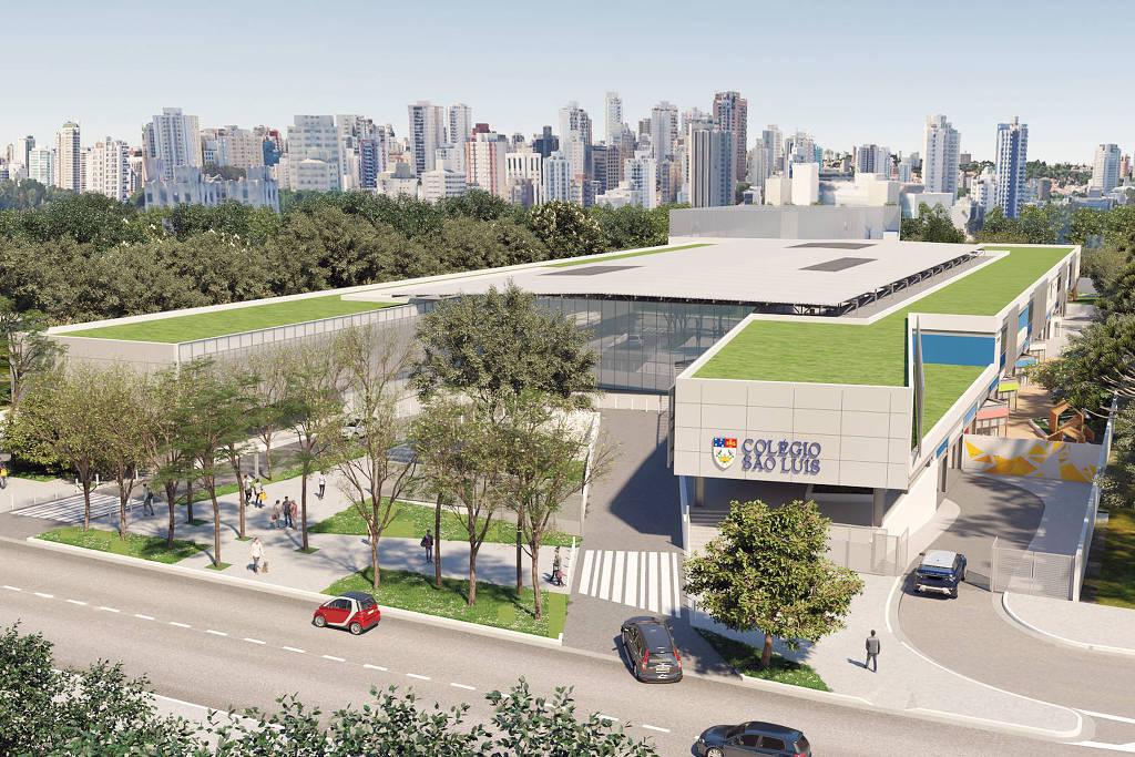 Projeto do novo Colégio São Luís, dos jesuítas, próximo ao parque Ibirapuera, SP.